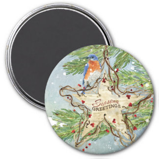 Christmas Rustic Nature Blue Bird birch Star 3 Inch Round Magnet