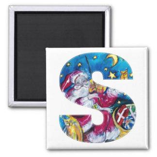 CHRISTMAS S LETTER / INSPIRED SANTA MONOGRAM 2 INCH SQUARE MAGNET