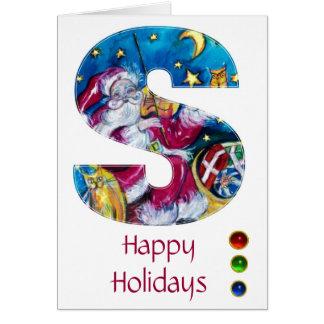 CHRISTMAS S LETTER / INSPIRED SANTA MONOGRAM CARD