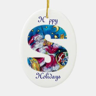 CHRISTMAS S LETTER / INSPIRED SANTA MONOGRAM CERAMIC ORNAMENT