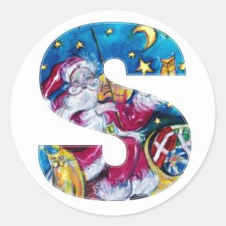 CHRISTMAS S LETTER / INSPIRED SANTA MONOGRAM CLASSIC ROUND STICKER