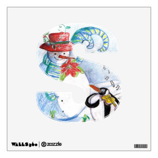 CHRISTMAS S LETTER ,PENGUIN'S SERENADE AND SNOWMAN WALL STICKER