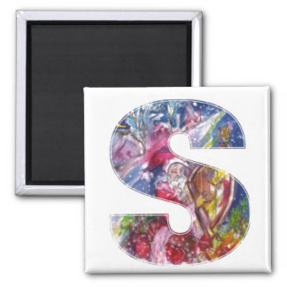 CHRISTMAS S LETTER  / SANTA  PLAYING HARP 2 INCH SQUARE MAGNET