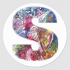 CHRISTMAS S LETTER  / SANTA  PLAYING HARP CLASSIC ROUND STICKER