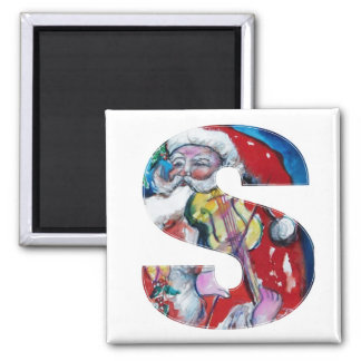 CHRISTMAS S LETTER / SANTA  WITH VIOLIN MONOGRAM 2 INCH SQUARE MAGNET
