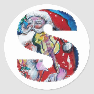 CHRISTMAS S LETTER  / SANTA WITH VIOLIN MONOGRAM ROUND STICKERS
