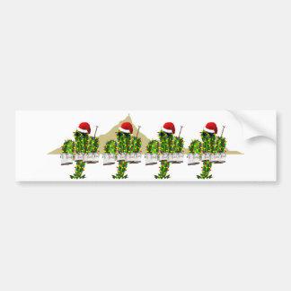 Christmas Saguaros Playing Quads Bumper Stickers