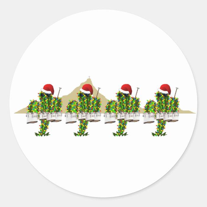 Christmas Saguaros Playing Quads Classic Round Sticker