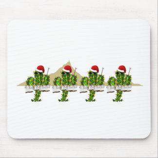 Christmas Saguaros Playing Quads Mouse Pad