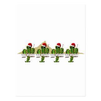 Christmas Saguaros Playing Quads Postcard