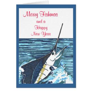 Christmas Sailfish Jumps Card