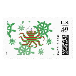 Christmas sailor octopus postage