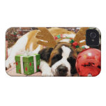 Christmas - Saint Bernard - Blue iPhone 4 Covers