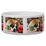 Christmas - Saint Bernard - Blue Pet Bowls