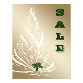 Christmas Sale Flyer Gold Tree Holly