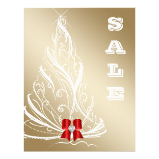 Christmas Sale Flyer Gold Tree Red Bow