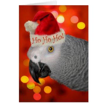 Christmas Themed Christmas Santa African Grey Parrot Card