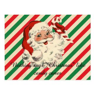 Christmas Santa and Candy Canes Postcard