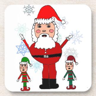 Christmas Santa and Elves Beverage Coasters