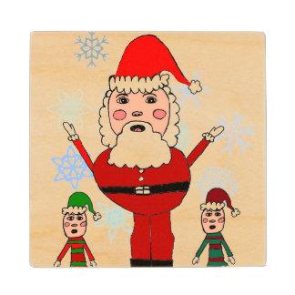 Christmas Santa and Elves Wood Coaster