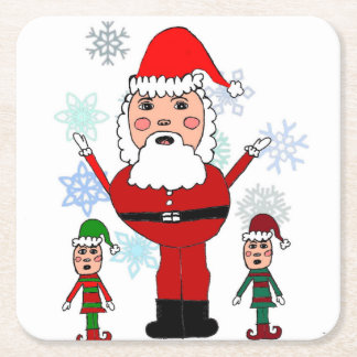 Christmas Santa and Elves Square Paper Coaster