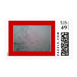 Christmas Santa and kitty postage stamp
