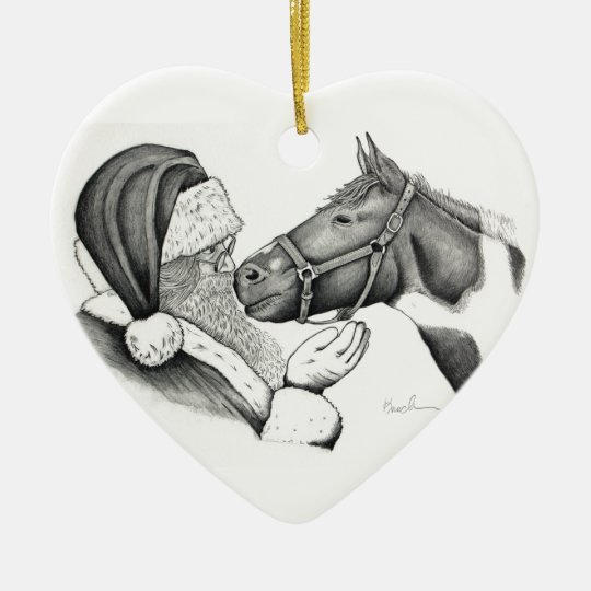 Christmas Horse Drawing.Christmas Santa And Paint Pinto Horse Ceramic Ornament