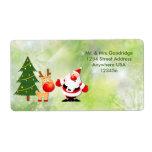 "Christmas Santa and Rudolf Label<br><div class=""desc"">Festive holiday season - Santa and Rudolf near Christmas tree.</div>"