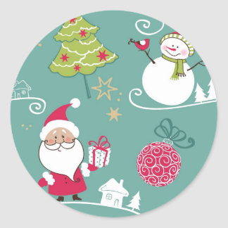 Christmas Santa and snowman pattern Classic Round Sticker