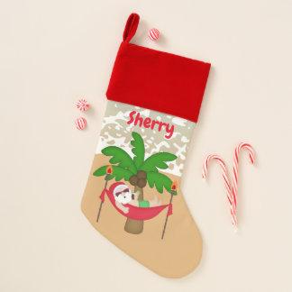 Christmas Santa at the beach add name stocking