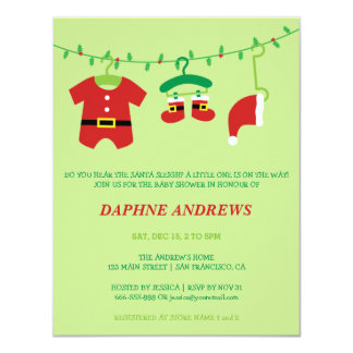 Christmas Santa Baby Shower Party Invitations