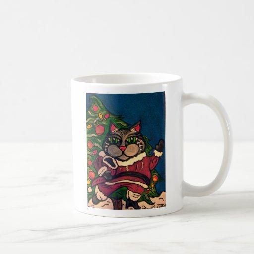 Christmas Santa cat mug art by Lisa Corby