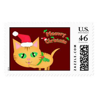 Christmas Santa Cat Postage Stamp Custom