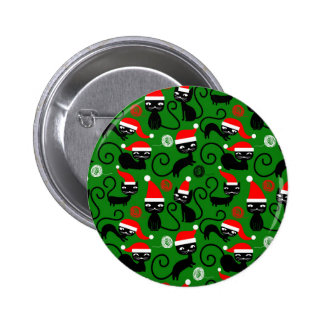 christmas santa cats pinback button