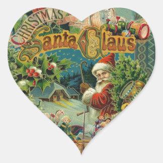 Christmas Santa Claus Antique Vintage Victorian Heart Sticker
