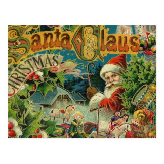 Christmas Santa Claus Antique Vintage Victorian Postcard