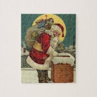 Christmas Santa Claus Chimney Bag Toys Jigsaw Puzzle