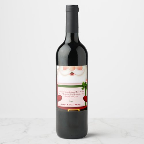 Christmas Santa Claus Custom Wine Label