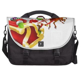 Christmas Santa Claus flying in sleigh Laptop Messenger Bag