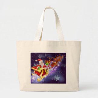 Christmas Santa Claus flying sleigh with gifts Canvas Bags
