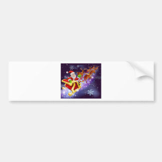 Christmas Santa Claus flying sleigh with gifts Bumper Stickers