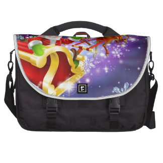 Christmas Santa Claus flying sleigh with gifts Laptop Computer Bag