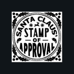 """Christmas Santa Claus Stamp of Approval Funny v2<br><div class=""""desc"""">This funny Christmas rubber stamp design will make your holiday gifts look like they were stamped by Santa Claus. The design says, &quot;Santa Claus&#39; Stamp of Approval&quot; and shows silhouettes of mistletoe, a reindeer and snowflakes, with holly in the corners. This is a cute, humorous design for the holiday season....</div>"""