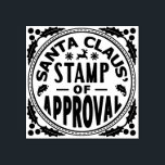 """Christmas Santa Claus Stamp of Approval Funny v2<br><div class=""""desc"""">This funny Christmas rubber stamp design will make your holiday gifts look like they were stamped by Santa Claus. The design says, """"Santa Claus' Stamp of Approval"""" and shows silhouettes of mistletoe, a reindeer and snowflakes, with holly in the corners. This is a cute, humorous design for the holiday season....</div>"""