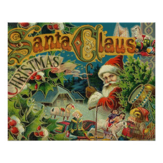 Christmas Santa Claus Vintage St Nick Poster