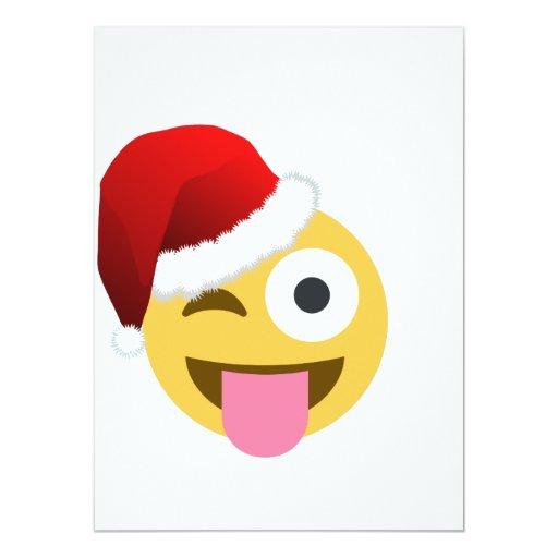 christmas santa claus winking emoji 5.5x7.5 paper invitation card ...