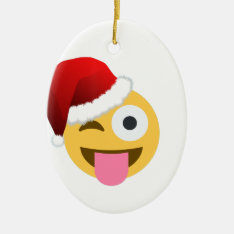 Christmas Santa Claus Winking Emoji Ceramic Ornament at Zazzle