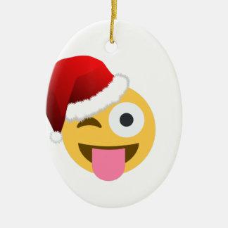 christmas santa claus winking emoji ceramic ornament