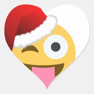 christmas santa claus winking emoji heart sticker