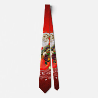Christmas, Santa Claus with gifts on red backgroun Tie